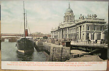Irish Postcard CUSTOM HOUSE DUBLIN Ireland River Liffey Barrels Ship Valentine