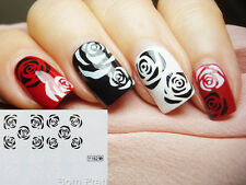 1 Sheet Nail Art Water Transfer Decals Stickers Black White Rose Pattern #Y182