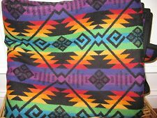 Pendleton SPIRIT DIAMOND Jacquard Throw Blanket Black Rainbow Wool Cotton