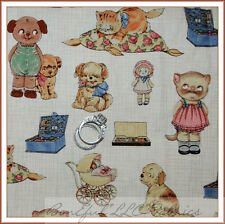 BonEful Fabric FQ Cotton Quilt Baby Kitty Cat Dog Sm Paper Doll Girl Boy Nursery