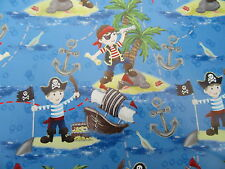 WRAPPING PAPER 2 SHEETS OF GIFT WRAP GIFT TAG BOY PIRATE SHIP AHOY BLUE BIRTHDAY