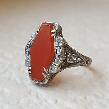 Antique Art Deco Vintage Carnelian Statement Filigree Ring in 14k White Gold