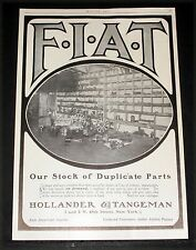 1905 Old Magazine Print Ad, Fiat Cars, Larger Stock Of Duplicate Parts On Hand!
