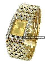 men's Elgin gold tone business success dress watch white CZ bracelet