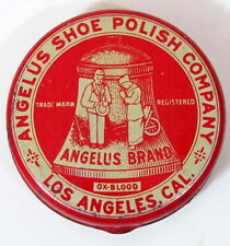 ANTIQUE RED OX BLOOD ANGELUS SHOE POLISH TIN LITHO CAN LOS ANGELES CA VINTAGE