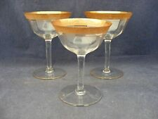 "3 Tiffin Minton Rambler Rose Parfait Stemware 5"" Encrusted Gold Trim"