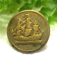 ANTIQUE GOLDEN AGE BUTTON COUSIN WITH SAILING SHIP W73