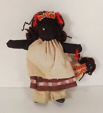 Vintage Rag Doll Primitive Black Americana Handmade Cloth Little Girl with Doll
