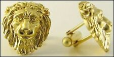 Lion Cufflinks in 24k Gold-plate Lion Head Cufflinks Men's Gold-plate Cufflinks