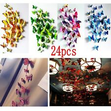 24pcs Art Decal Home Room Wall PVC Stickers 3D Butterfly Sticker Decorations Mix