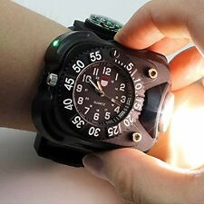 USB Rechargeable LED Wrist Light Watch Bracelet Lamp Flashlight Torch+Compass