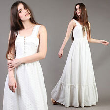 vtg EYELET LACE white PRAIRIE wedding tiered victorian maxi hippie dress 70s XS