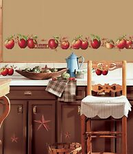 NEW Country Apples Wall Decals Kitchen Home Removable Easy To Apply Decor Fruit