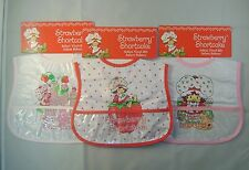 Set of 3 Strawberry Shortcake Infant Vinyl Bibs baby Waterproof