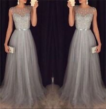 Grey Long Bridesmaid Formal Ball Gown Party Cocktail Wedding Evening DressCustom