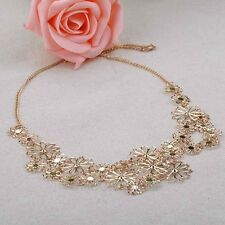 Chic Donne Lady Multilayer Girocollo Ciondolo Statement Oro Catena Fiore Collana
