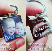 Domed Photo Personalised Metal Keyring, Engraving On Reverse, Father's Day Gift