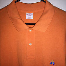 EUC MENS ORANGE BROOKS BROTHERS COLOR LOGO S/S MESH KNIT POLO SHIRT XL GOLF