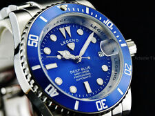 NEW Legend Men Submariner Deep Blue Diver Automatic Sapphitek BLUE Dial SS Watch
