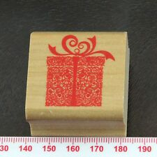 Ornate Patterned Birthday Wrapped Gift Box with Bow Rubber Stamp