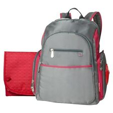 Fisher-Price Ripstop Diaper Bag Backpack - Grey & Red