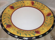 PIER 1 DONEVA HAND PAINTED EARTHENWARE DINNER PLATE YELLOW BAND