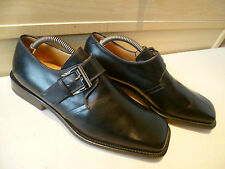 New Bruno Magli full leather monk UK 7 41 mens black Bologna strap buckle loafer