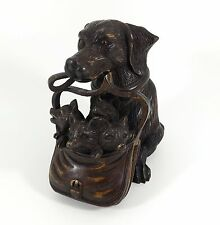 Antique Black Forest Inkwell, Dachshund Dog & Fox Cubs, Glass Eyes, c1900