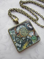 Steampunk glass cabochon necklace Antique bronze tone Charm Pendant Vintage a