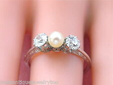 ANTIQUE .66ctw EUROPEAN 2 DIAMOND 4.5mm NATURAL PEARL CENTER TRILOGY RING 1910