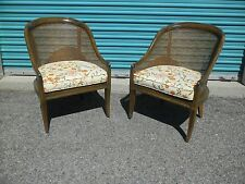 Great Pair c1970 Classic French Fruitwood Caned Bergere Chairs Brunschwig & Fils