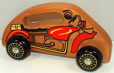 "6.5"" Wood Handcrafted Hand Made Rolling Motorcycle Toy w/ Handle by Holgate"