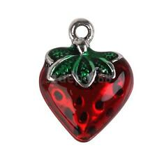10 Alloy Enamel Strawberry Charm Pendant Jewelry Necklace Bracelet Making