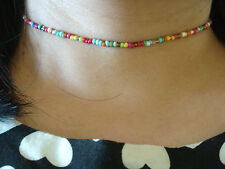 "Adjustable Rainbow Seed Beads 13"" Choker Necklace Bracelet Wiccan Pagan Gothic"