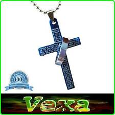 Cross Lords prayer Our Father Necklace Pendant Chain Stainless steel Blue NK16