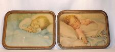 ANTIQUE PAIR 1933 ANNIE BENSON MULLER BABY PICTURES ORIG ART DECO FRAME & GLASS