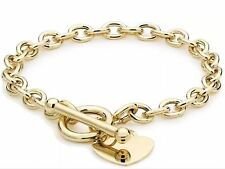 "9ct YELLOW Solid GOLD Charm Heart T-Bar Belcher Bracelet 19cm/7.5"" UK+ FREE Gift"