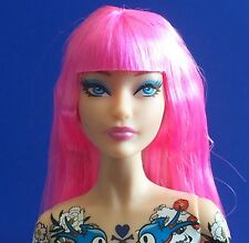 2015 Barbie Tokidoki Doll Nude w Model Muse Karla Doll Face Pink Hair Tattoos