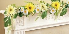 Colorful Daisies Floral Garland w/Greenery & Berries 5 FT Length