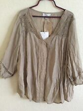Carolyn Taylor Peasant Top Blouse Tunic Shirt Boho Crochet Plus Size 2X #V1016