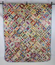 Vtg Shabby Distressed LOG CABIN Patchwork Quilt Top Unfinished Chic Blanket 83""