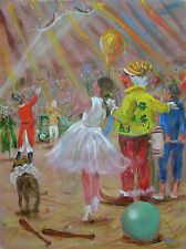 "LEON GOODMAN ORIGINAL ""The Yellow Clown""  Circus Big top PAINTING"