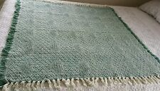 VINTAGE WOVEN HEARTS THROW AFGHAN LAP BLANKET SHABBY GREEN & CREAM WOOL BLEND