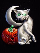"""""""JJ"""" Jonette Jewelry Silver Pewter 'HALLOWEEN Cat, Pumpkin & Moon' Pin"""