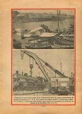 Seaplane Hydravion Hareng Pêche Radio T.S.F. / Grue Locomotive 1930 ILLUSTRATION
