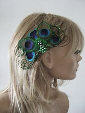"MADE IN UK Peacock Feather Fascinator Hair Clip Navy Blue Green Xmas Party ""Una"""