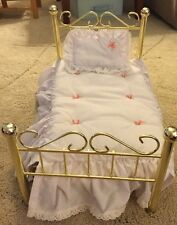 American Girl Pleasant Co. Samantha Brass Doll Bed with Bedding Retired