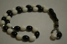 BESIKTAS SPORTS TEAM BEADS WHITE & BLACK  33 BEADS ( 6 mm )
