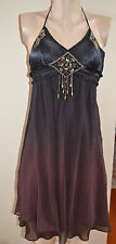 SEXY STUNNING SUE WONG BEADED OMBRE SILK  HALTER TIE COCKTAIL  DRESS, sz 2