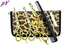 "Hairdressing 5.5"" Scissors Barber Salon Thinning SET Leopard Shears TRIM RAZOR"